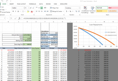 Excel file for calculating loans with extra repayment option